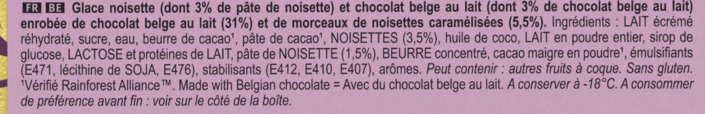 Magnum Glace Batonnet Chocolat Praline - Ingredients - fr