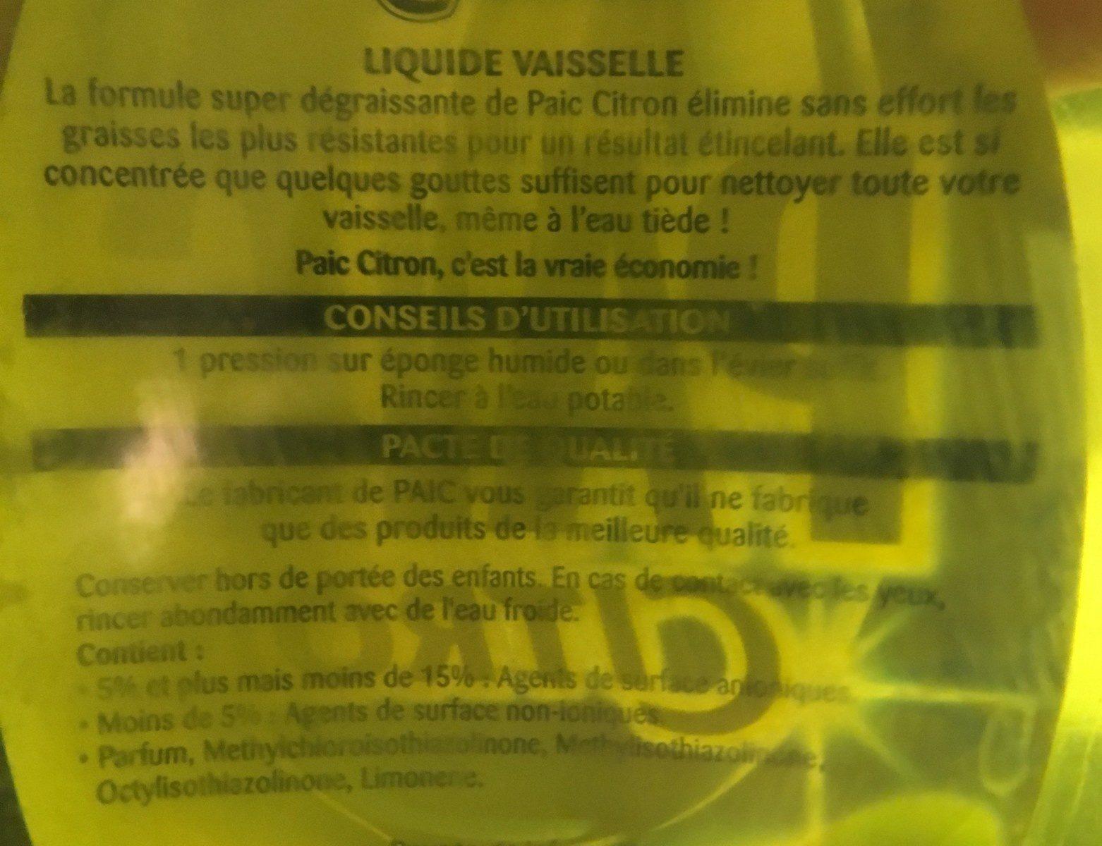 Paic Citron, Liquide Vaisselle, Flacon De 750 Millilitres - Ingredients - fr