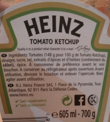 heinz tomato ketchup - Ingrédients - fr