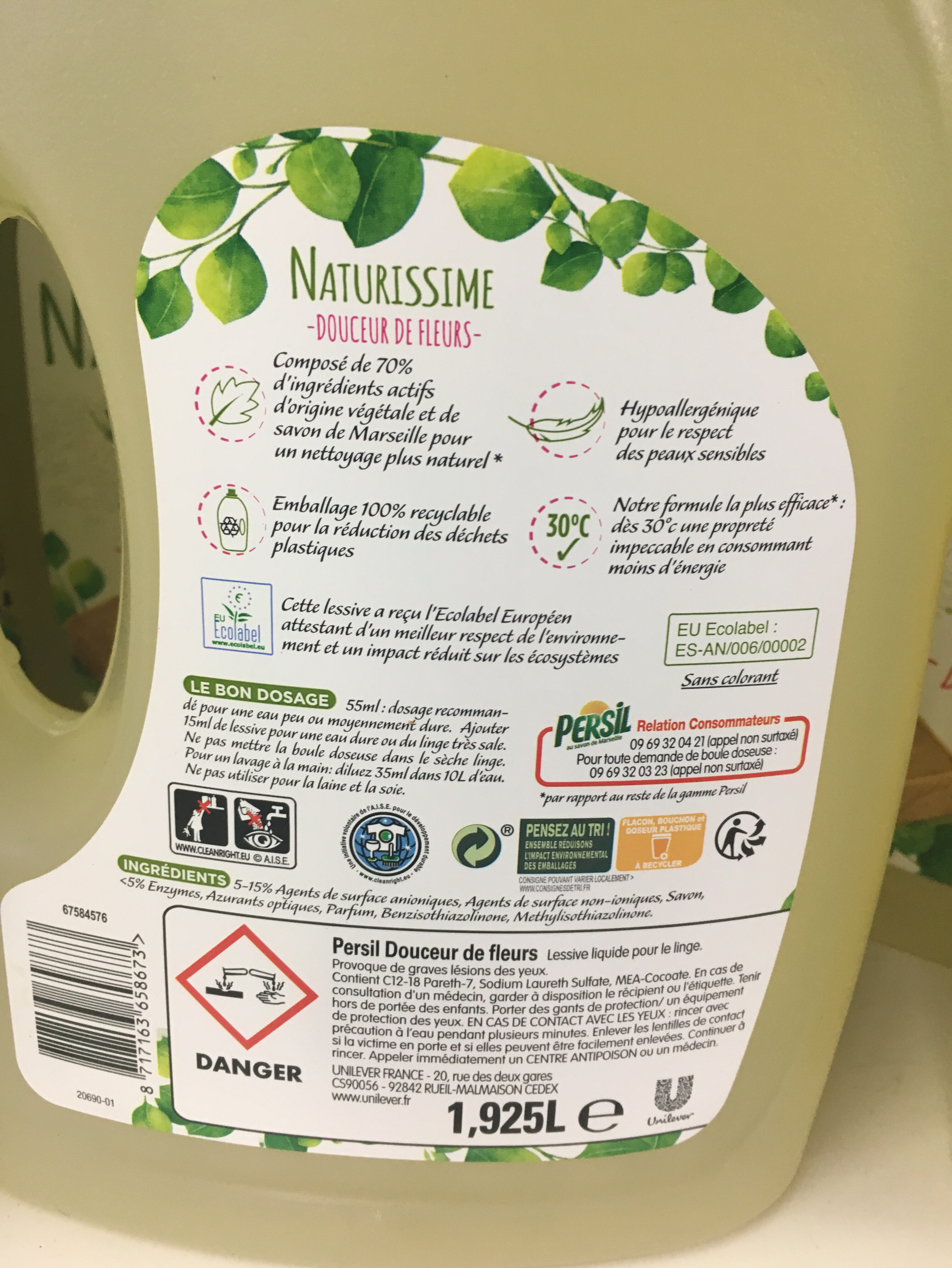 Persil Lessive Liquide Naturissime Douceur de Fleurs Écolabel Hypoallergénique 1,92l 35 Lavages - Ingredients - fr