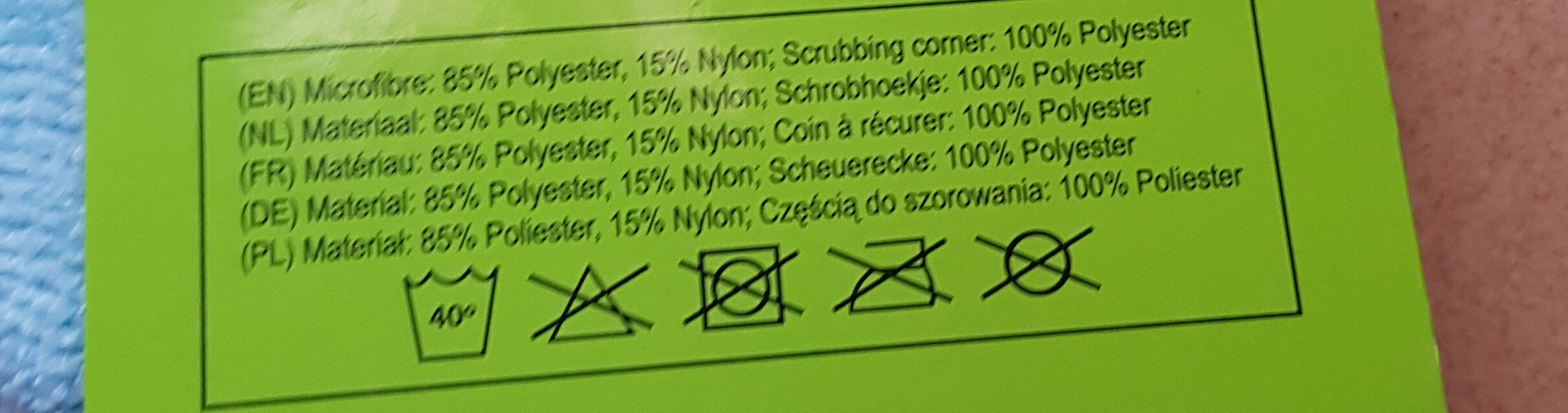 chiffons microfibre - Ingredients