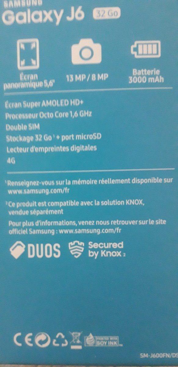 Samsung Galaxy J6 NOIR - Ingrédients