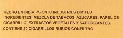 Cigarros rubios - Ingredients