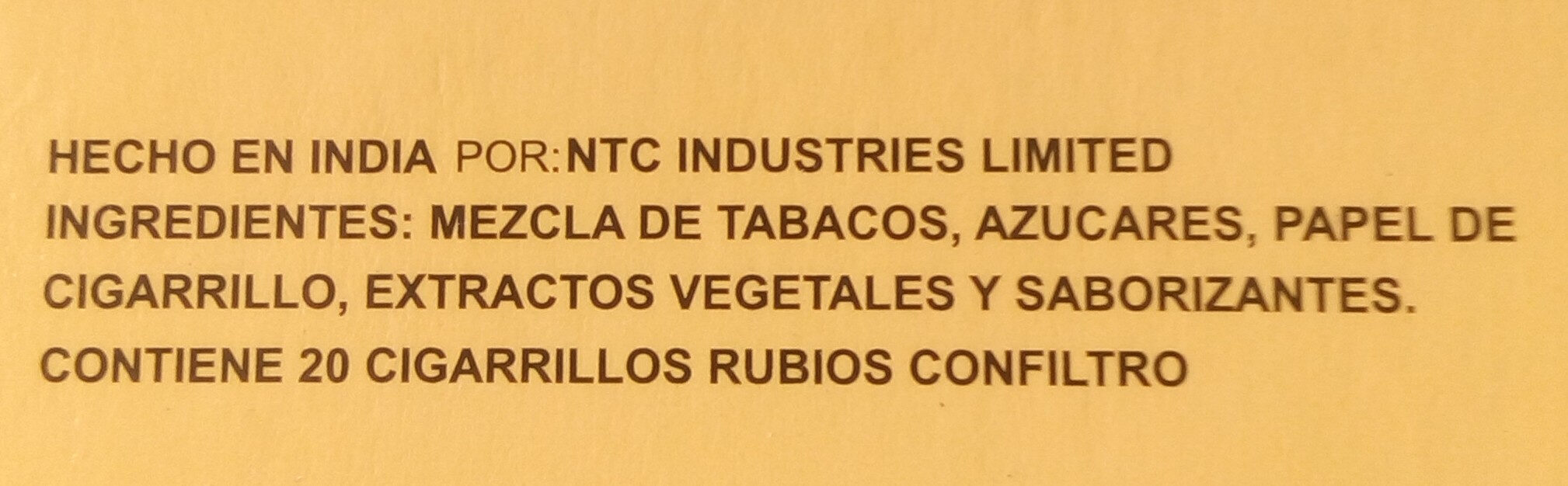 Cigarros rubios - Ingredients - es