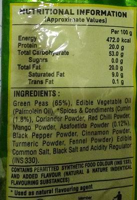 Hing Jeera Matar - Ingredients