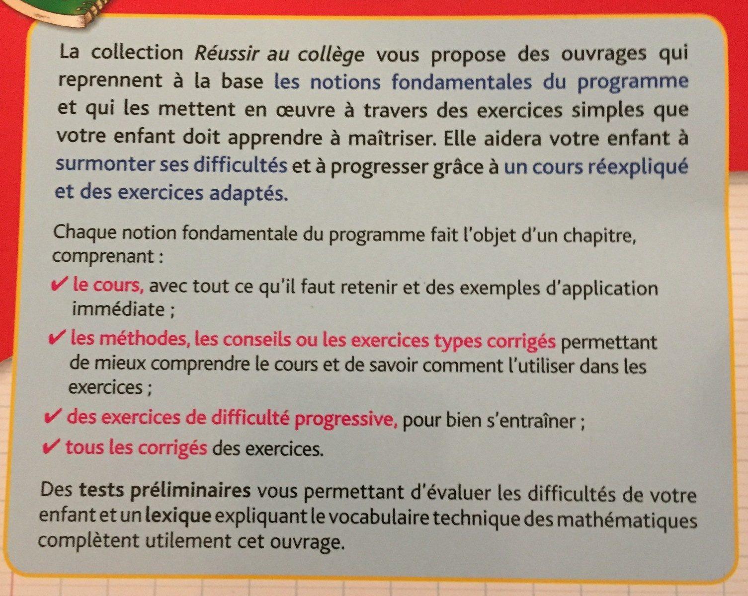 Reussir college maths 5eme - Ingredients - fr