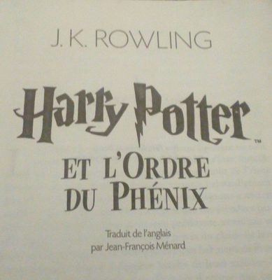 Harry Potter Et L'ordre Du Phenix, J. K. Rowling - Ingredients