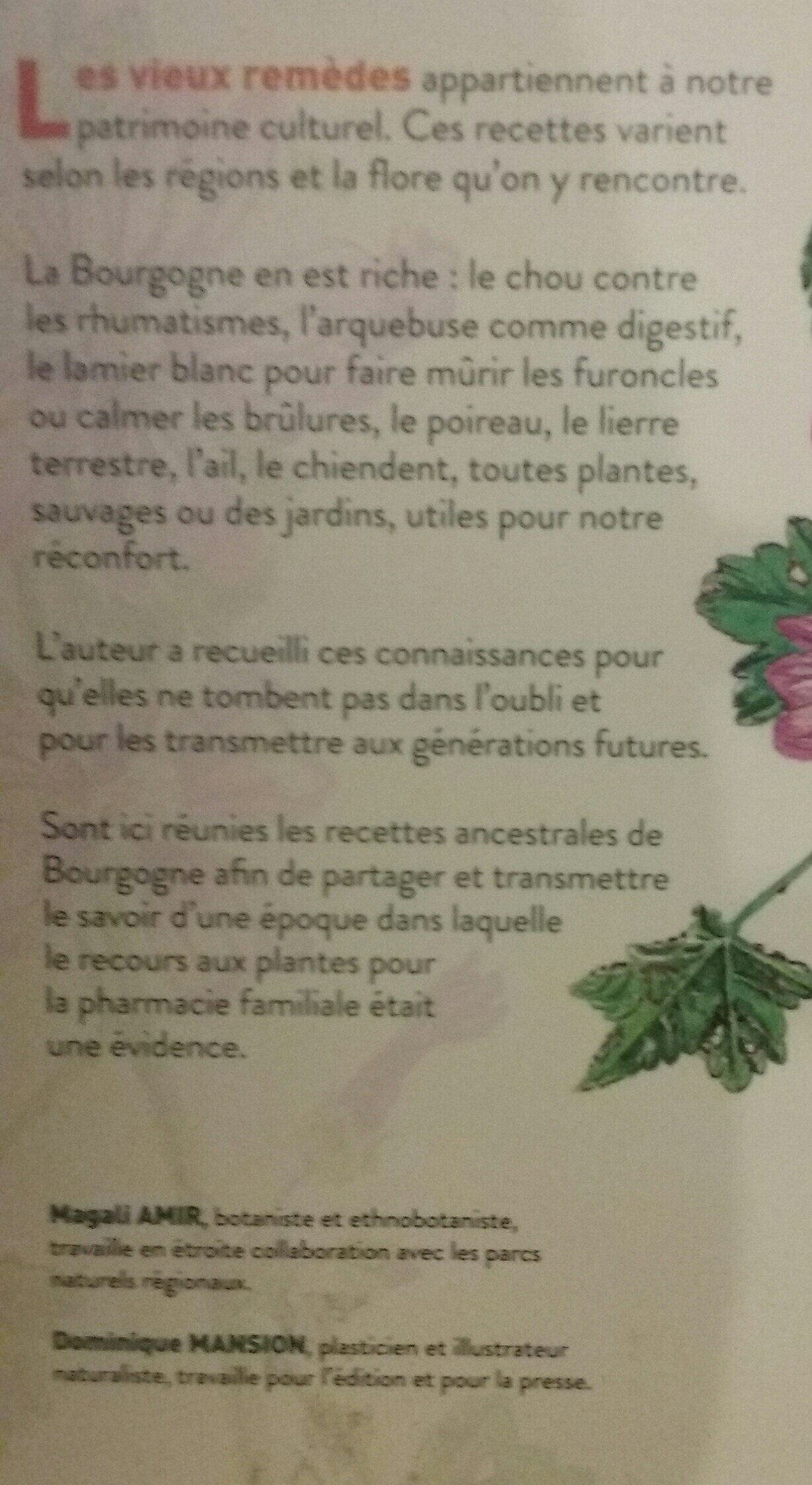 vieux remedes de Bourgogne - Ingredients - fr